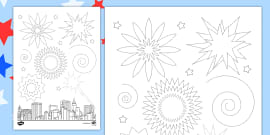 Independence Day Firework Pencil Control Sheet