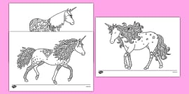 Unicorn Mindfulness Colouring Sheets