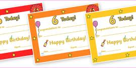 Editable Birthday Certificates (Age 6)