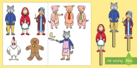 Stick Puppets to Support Teaching on Mr Wolf's Pancakes