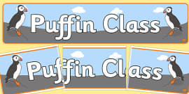 Puffin Themed Classroom Display Banner