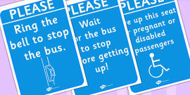 On the Bus Role Play Signs