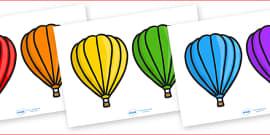 Hot-Air Balloons Plain 2 Per A4 Editable Box