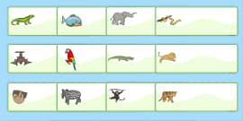 Jungle Animal Themed Editable Drawer Peg Name Labels