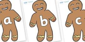 A-Z Alphabet on Gingerbread Men