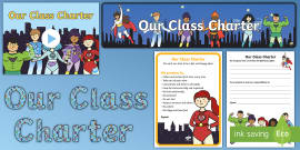 * NEW * Our Class Charter Superhero-Themed Resource Pack