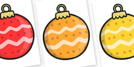 Christmas Editable A4 Baubles Patterned