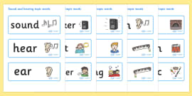 Sound and Hearing Topic Word Cards