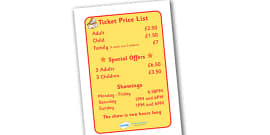 The Circus Ticket Price List and Show Times Display Sign