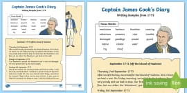 Year 1 Captain Cook's Diary Writing Sample