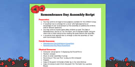 Remembrance Day Assembly Script