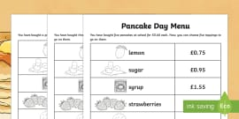 Pancake Day Menu Challenge Differentiated Activity Sheets