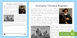 * NEW * Christopher Columbus Biography Fact File