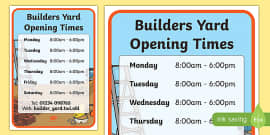 Builders Yard Role Play Opening Times
