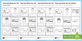 Find and Write the nk Words Differentiated Activity Sheet