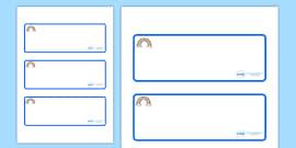 Rainbow Themed Editable Drawer-Peg-Name Labels (Blank)
