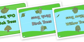 Editable Class Group Table Signs (Trees)