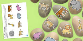 At the Zoo Story Stones Image Cut Outs