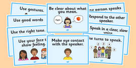 Speaking and Listening Rules Display Posters