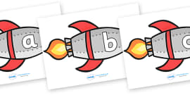 A-Z Alphabet on Rockets (lowercase)