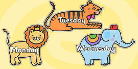 Days of the Week on Cute Animals