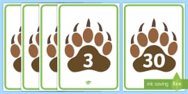 Numbers 0 to 30 on Paw Prints Display Posters