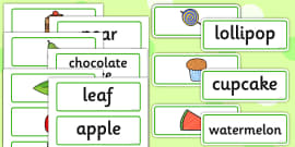 Food and Word Card Cut Outs to Support Teaching on The Very Hungry Caterpillar
