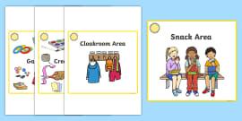 Sunshine Themed Editable Square Classroom Area Signs (Colourful)