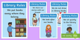 Library Rules Display Posters Illustrations
