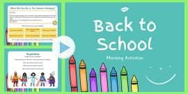 Keystage 1 Morning Activities PowerPoint