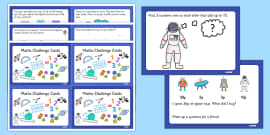 Space Themed KS1 Maths Challenge Cards
