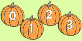 Numbers 0-30 on Pumpkins