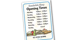 Sandwich Shop Role Play Opening Times