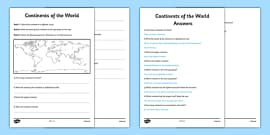 Continents of the World Activity Sheet