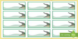 Crocodile Themed Editable Drawer-Peg-Name Labels (Colourful)