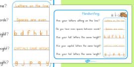 Australia - Handwriting Reminder Sheets