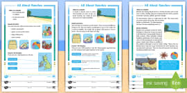 * NEW * KS1 All about Beaches Differentiated Reading Comprehension Activity
