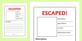 Escaped Animal Writing Frames Plain