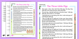The Three Little Pigs Traditional Tales Differentiated Reading Comprehension Activity