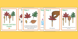 Autumn Leaf Stick Puppets Craft Instructions