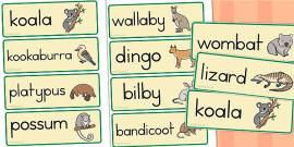 Australian Animal Word Cards - Australia
