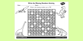 Dinosaur Themed Missing Numbers Number Square 1-100