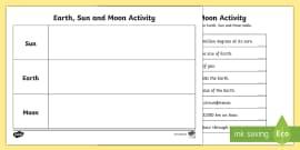 Earth Sun and Moon Fact Table Activity