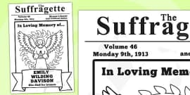 Suffragettes Roleplay Newspaper