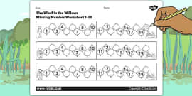 The Wind in the Willows Missing Number Activity Sheet 1-20