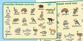 Australian Animals Word Mat