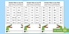 Greater Than and Less Than Activity Sheets