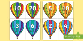 Counting in 2s, 3s, 5s and 10s Air Balloon Cut-Outs