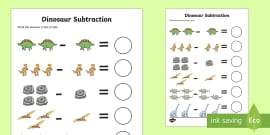 Dinosaur Themed Subtraction Activity Sheet