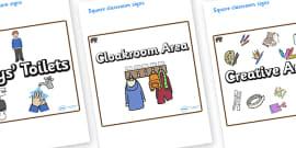 Bear Themed Editable Square Classroom Area Signs (Plain)